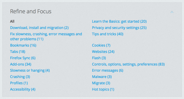 Our Refine and Focus lets you pick exactly the topic you need help with.